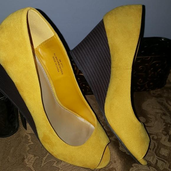 c48c6da38c Cato Shoes   Yellow Suede Wedges   Poshmark